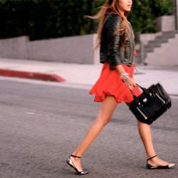 """Julie Sarinana of <a href=""""http://www.sincerelyjules.com/2011/12/alexa.html"""" rel=""""nofollow"""">Sincerely Jules</a> is wearing an Alexa Chung for Madewell dress, an Asos leather jacket, 3.1 Phillip Lim  bag, and Zara flats."""