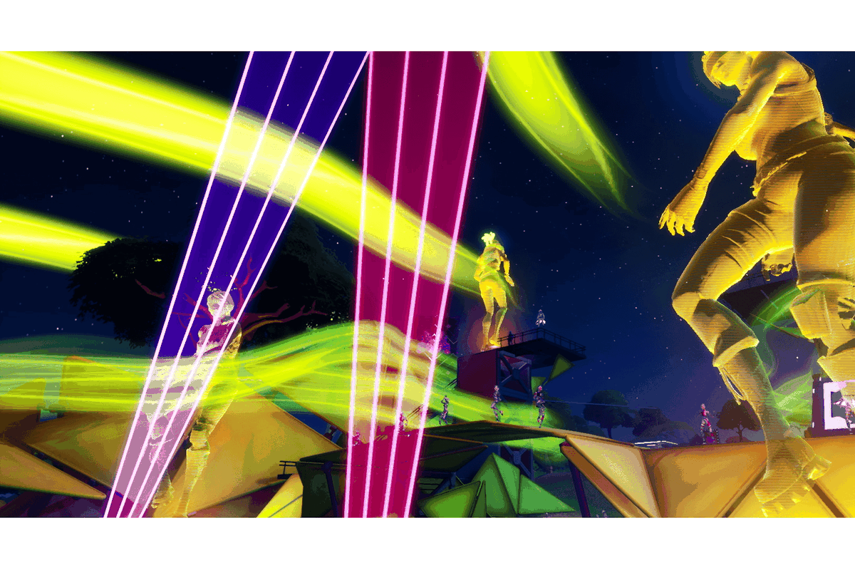 A holographic dance party at the Fortnite Party Royale main stage