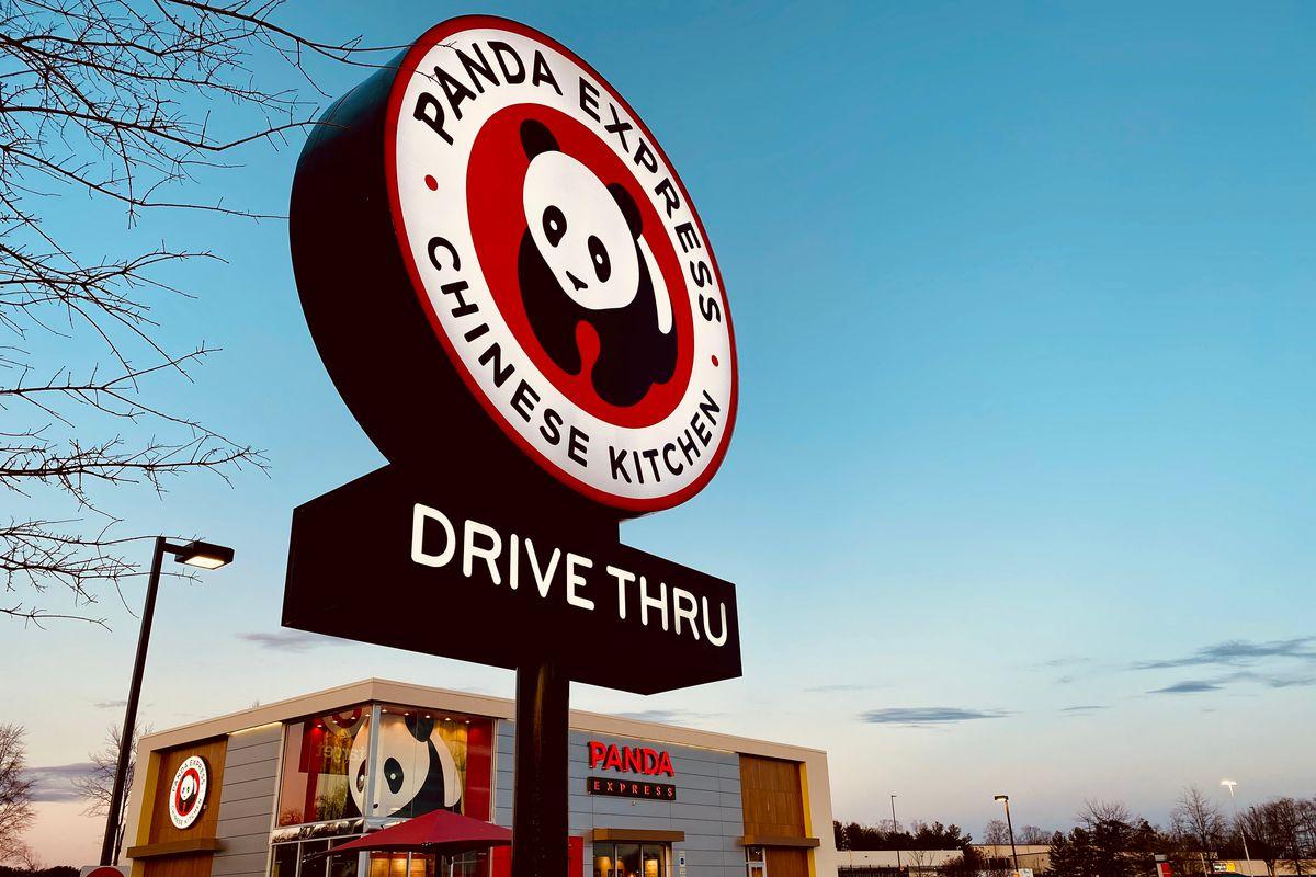 Panda Express sign in front of a Panda Express restaurant.