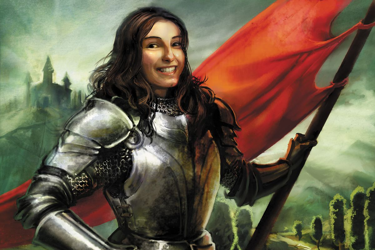 A female knight holding a red banner in card art for Dominion.