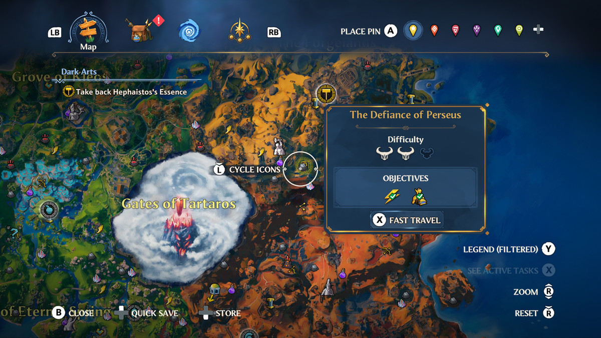 A screenshot of the map location of the Defiance of Perseus Vault of Tartaros in Immortals Fenyx Rising