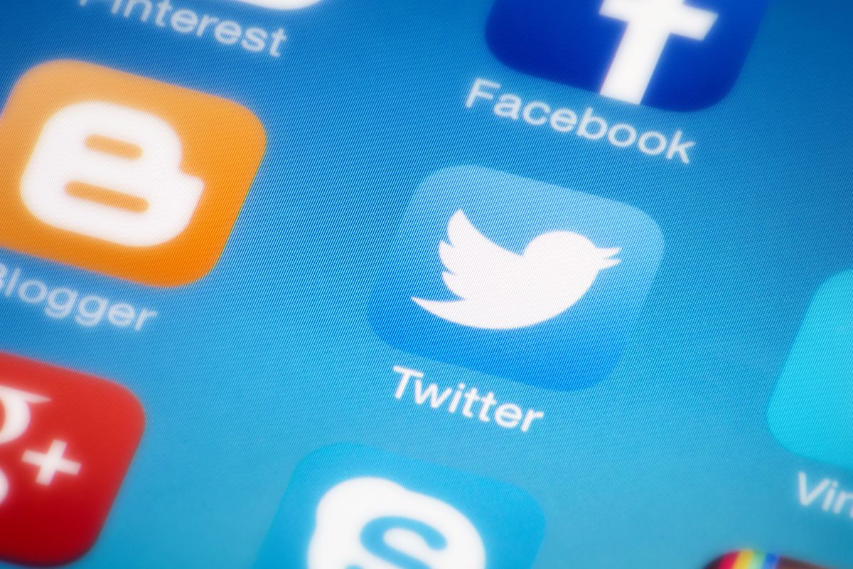 close-up of Twitter icon on an iPhone