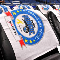 Magic rally towels honoring all military personnel as part of the Magic's Seats for Soldiers Night presented by Harris Corporation on November 4.