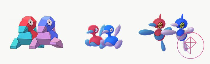 Porygon, Porygon2, and Porygon-Z standing next to its Shiny forms. The regular forms are pink and teal, but they become navy blue and purple when Shiny.