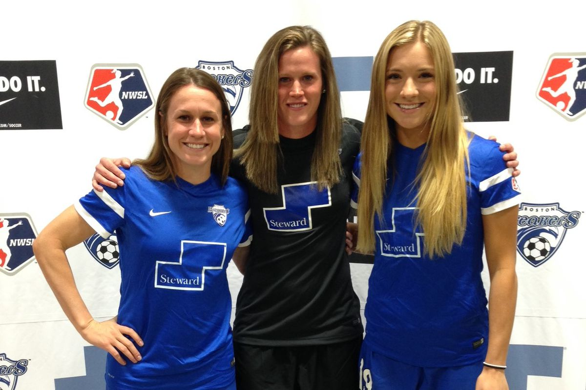 Left to Right: Heather O'Reilly, Alyssa Naeher and Kristie Mewis model Boston's new home kit.
