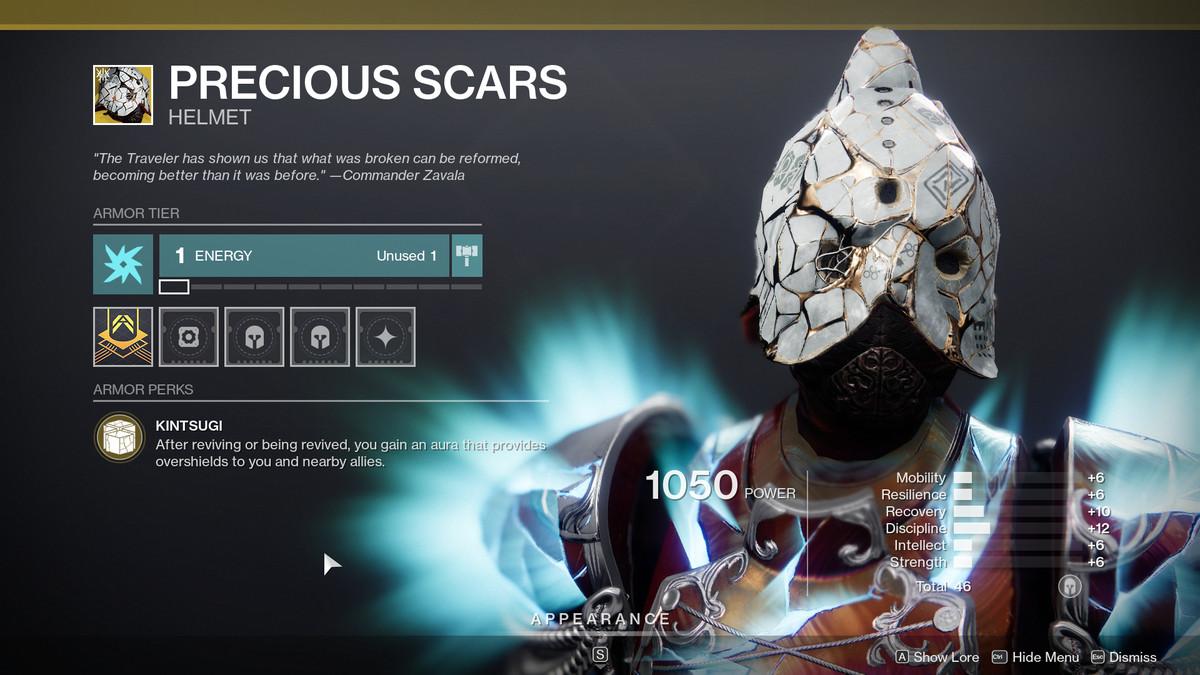 Precious Scars Exotic armor Destiny 2
