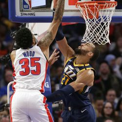 Detroit Pistons forward Christian Wood (35) takes a shot over Utah Jazz center Rudy Gobert (27) during the second half of an NBA basketball game Saturday, March 7, 2020, in Detroit.
