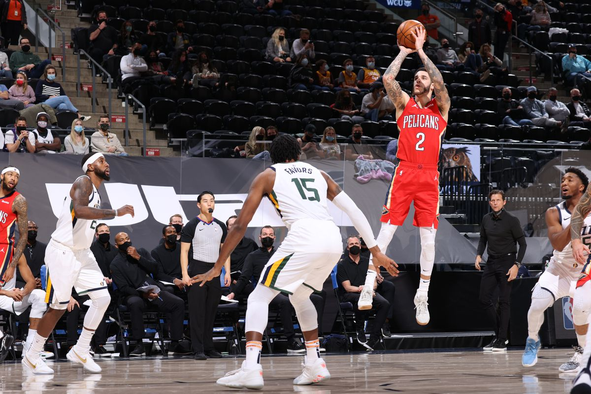 Lonzo Ball of the New Orleans Pelicans shoots the ball during the game against the Utah Jazz on January 21, 2021 at vivint.SmartHome Arena in Salt Lake City, Utah.