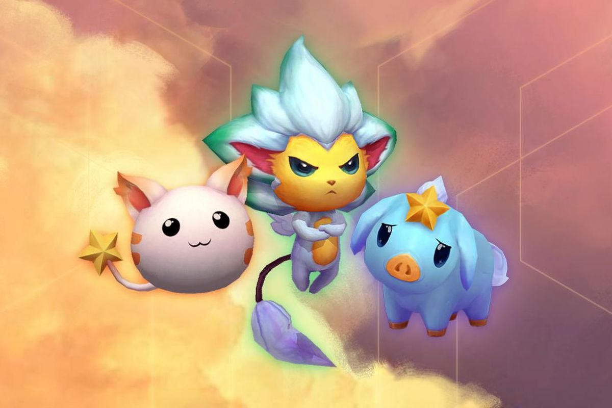 Three new Star Guardian-themed Little Legends stand over the orange Teamfight Tactics clouds