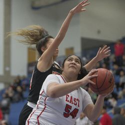 East's Lani Taliauli prepares to put up a shot during East's 68-48 victory against Timpview in the Class 5A state championship game at Salt Lake Community College in Taylorsville on Saturday, Feb. 24, 2018.