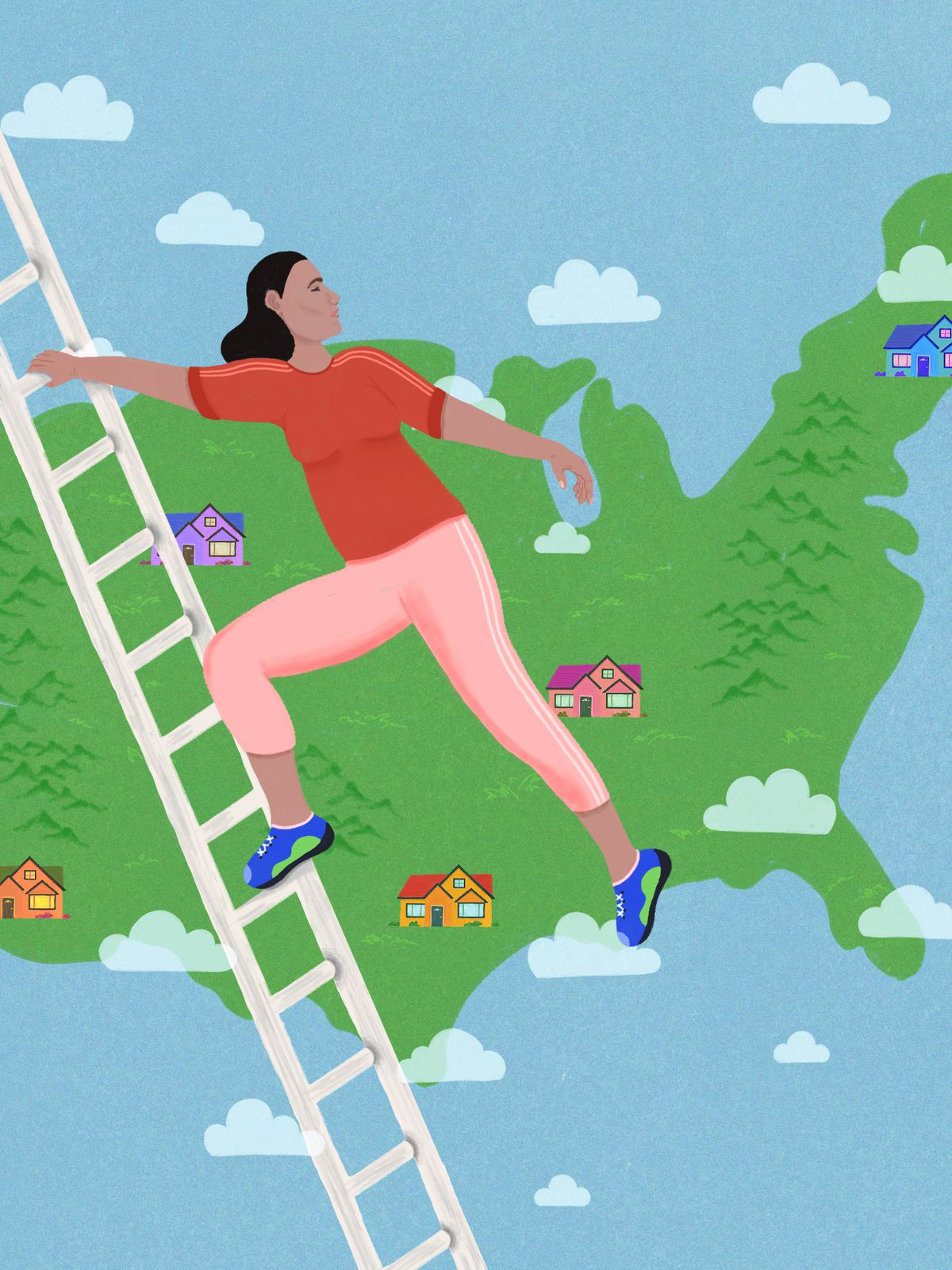 A girl climbs a ladder, with a map of the United States dotted with houses in the background