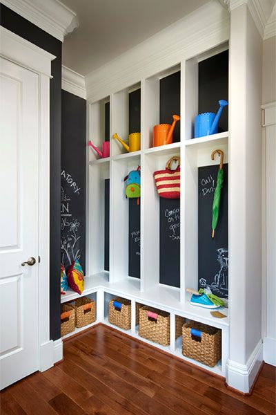 Mudroom With Chalkboard Paint