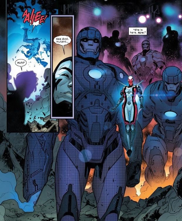 Omega Sentinel arrives with a platoon of Sentinel troops, in Powers of X #3, Marvel Comics (2019).