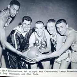 Hot Rod Hundley, above center, poses with the other 1957 all-American team members.