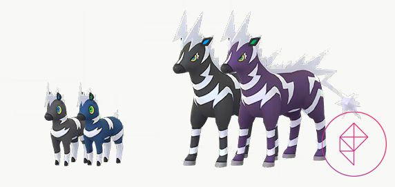Shiny Blitzle and Zebrastrika with its normal forms. Shiny Blitzle is blue