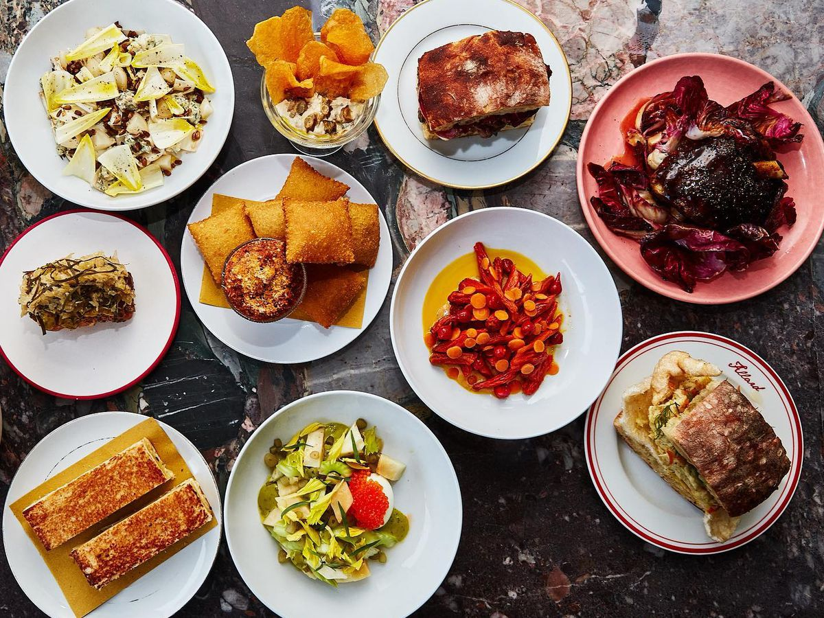 ten dishes with food