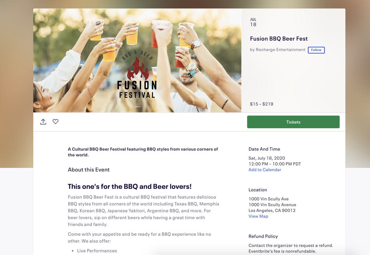 An Eventbrite page screenshot showing a bbq festival.