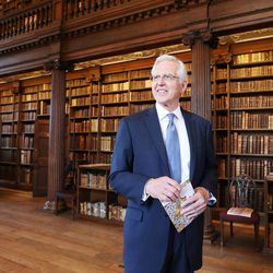 Elder D. Todd Christofferson, of the Quorum of the Twelve Apostles of The Church of Jesus Christ of Latter-day Saints, tours the Upper Library at Christ Church, Oxford University, in Oxford, England on Thursday, June 15, 2017. Some books date back to the 9th century.