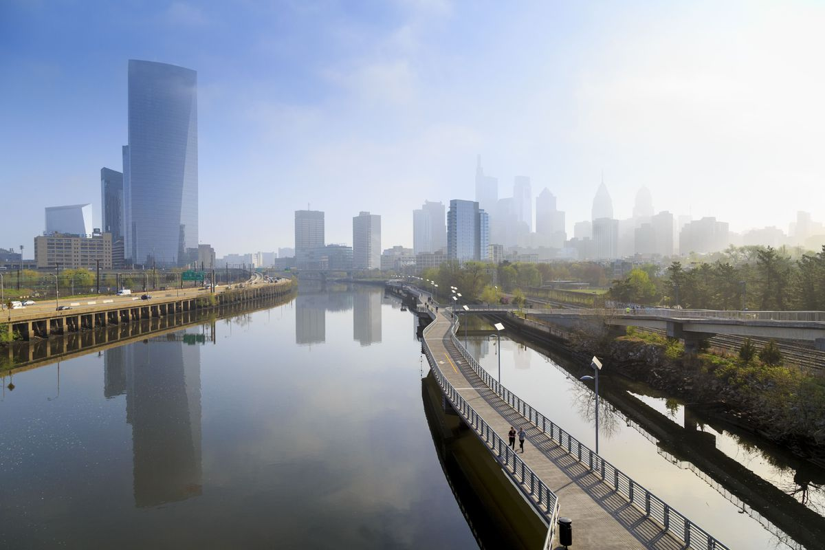 Philadelphia Skyline with Schuylkill River Park Boardwalk in springtime, Philadelphia, Pennsylvania, USA