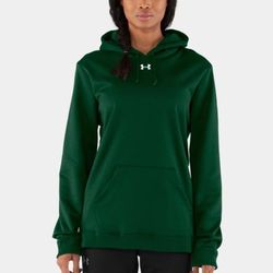 "<b>Under Armour</b> fleece team hoodie in forest green, <a href=""http://www.underarmour.com/shop/us/en/womens-armour-fleece-team-hoodie/pid1225774-301"">$49.99</a>"