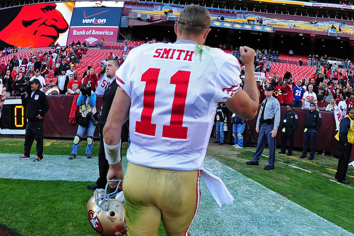 LANDOVER, MD - NOVEMBER 6: Alex Smith #11 of the San Francisco 49ers heads off the field after the game against the Washington Redskins at FedEx Field on November 6, 2011 in Landover, Maryland. (Photo by Scott Cunningham/Getty Images)