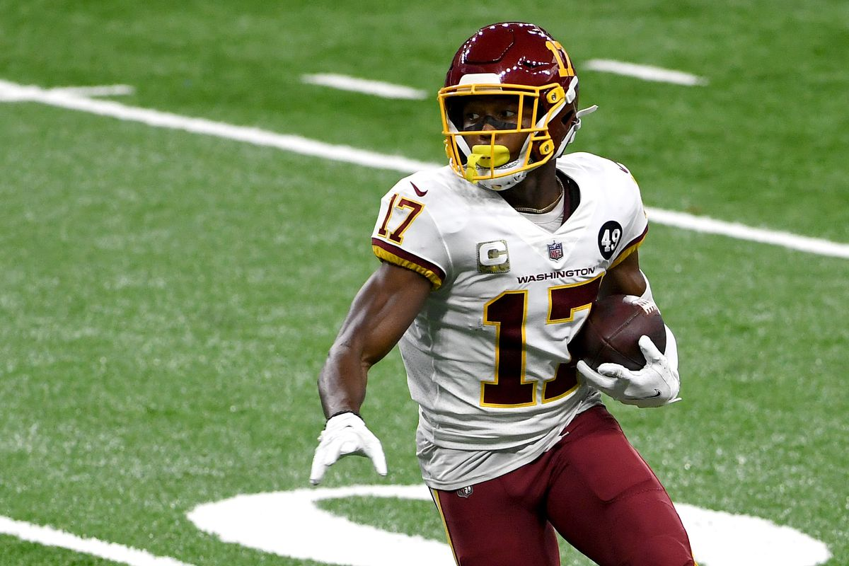 Terry McLaurin #17 of the Washington Football Team looks to run the ball during their game against the Detroit Lions at Ford Field on November 15, 2020 in Detroit, Michigan.