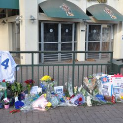 Tributes to Ernie left outside the Captain Morgan Club