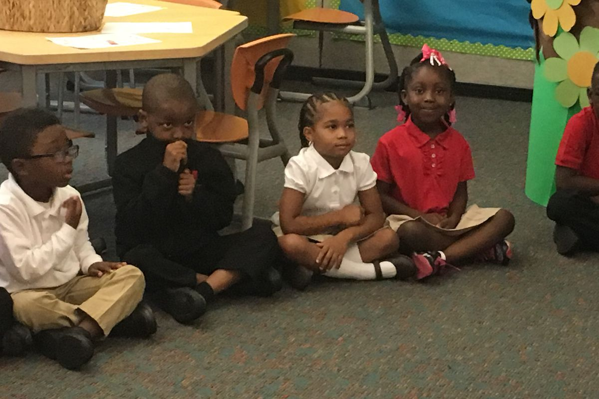 Kindergarteners at Detroit's University Prep Academy charter school on the first day of school in 2017.