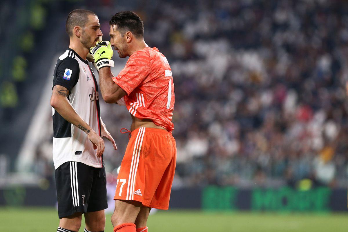 Gianluigi Buffon and Leonardo Bonucci of Juventus FC...