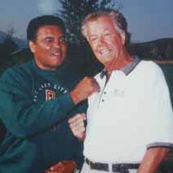 Hot Rod Hundley is seen with Muhammad Ali.