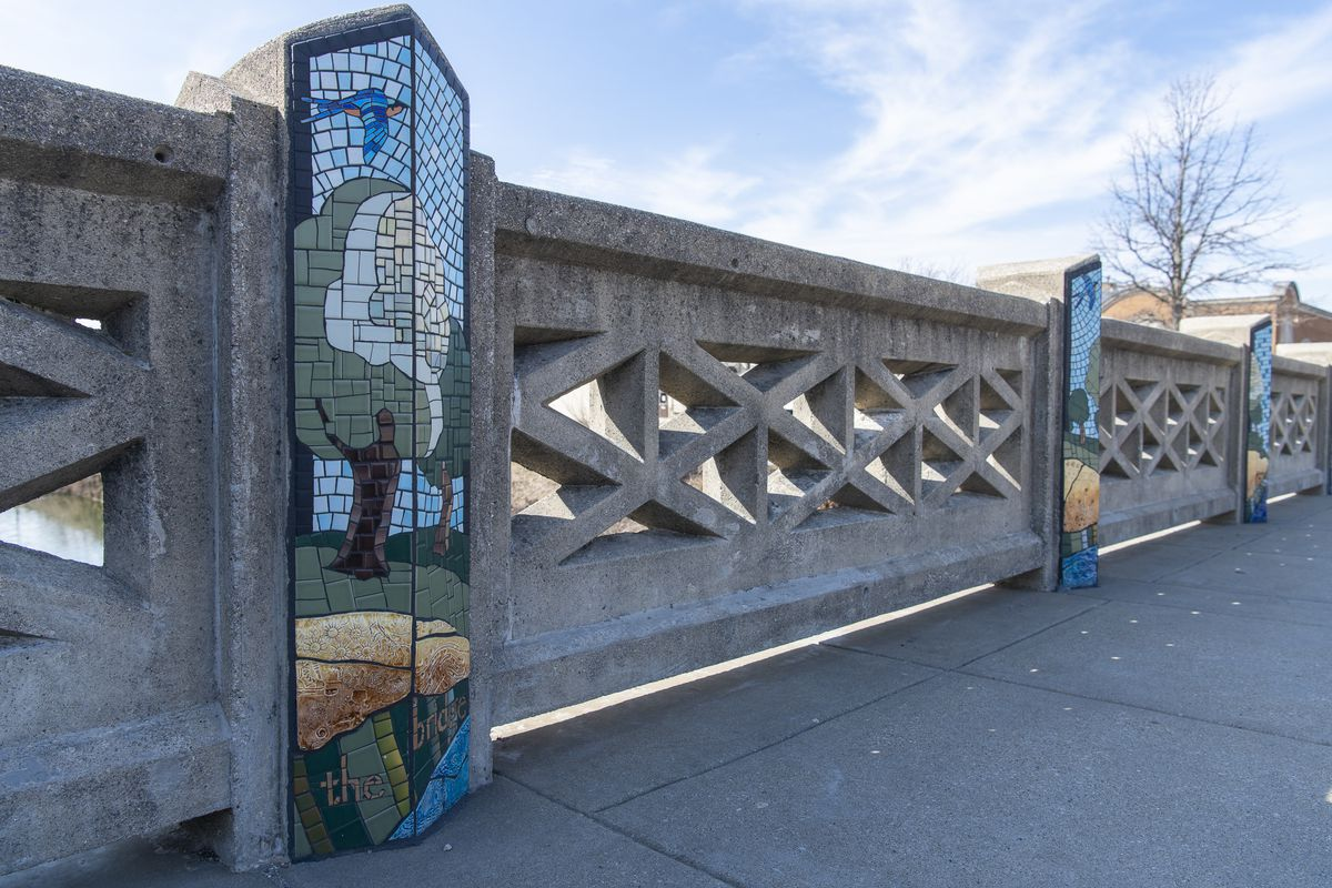 """The mosaic """"Blowing in the Wind"""" decorates the Stephen Street Bridge in Lemont."""