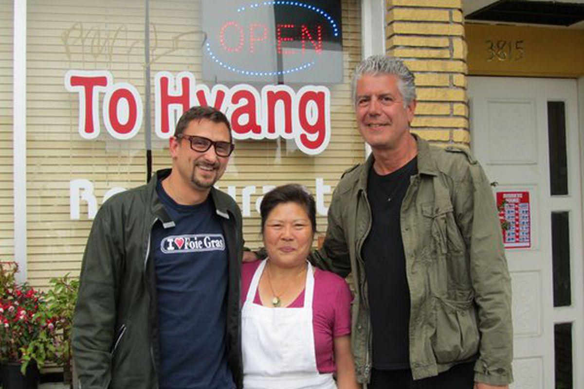 Bourdain, Cosentino, and Im at To Hyang.