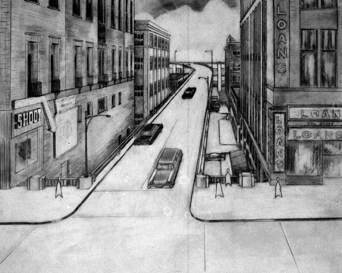 A black and white sketch of a street in Seattle.
