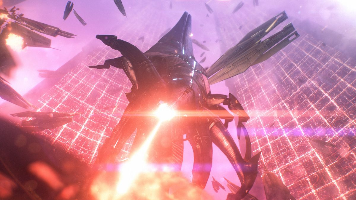 a Reaper ship attacks in Mass Effect Legendary Edition