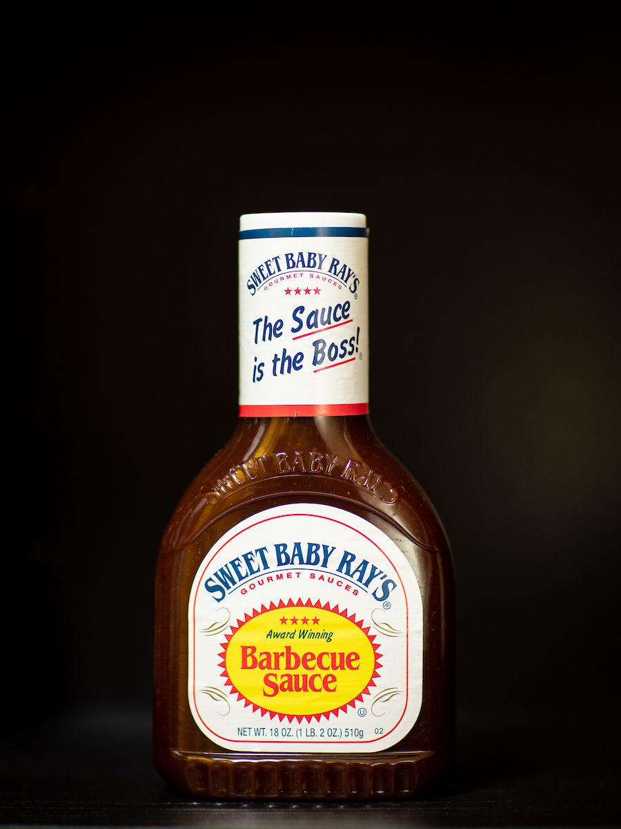 A bottle of Sweet Baby Ray's barbecue sauce