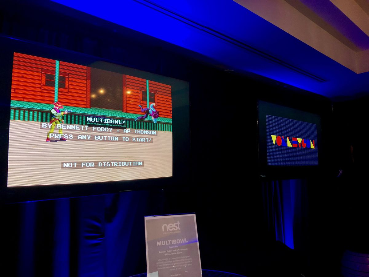 Multibowl and Volleygon on display at Polygon's speakeasy arcade at SXSW 2018