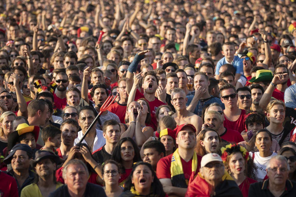 Football Fans Watch As Belgium Take On Brazil In The Final 16