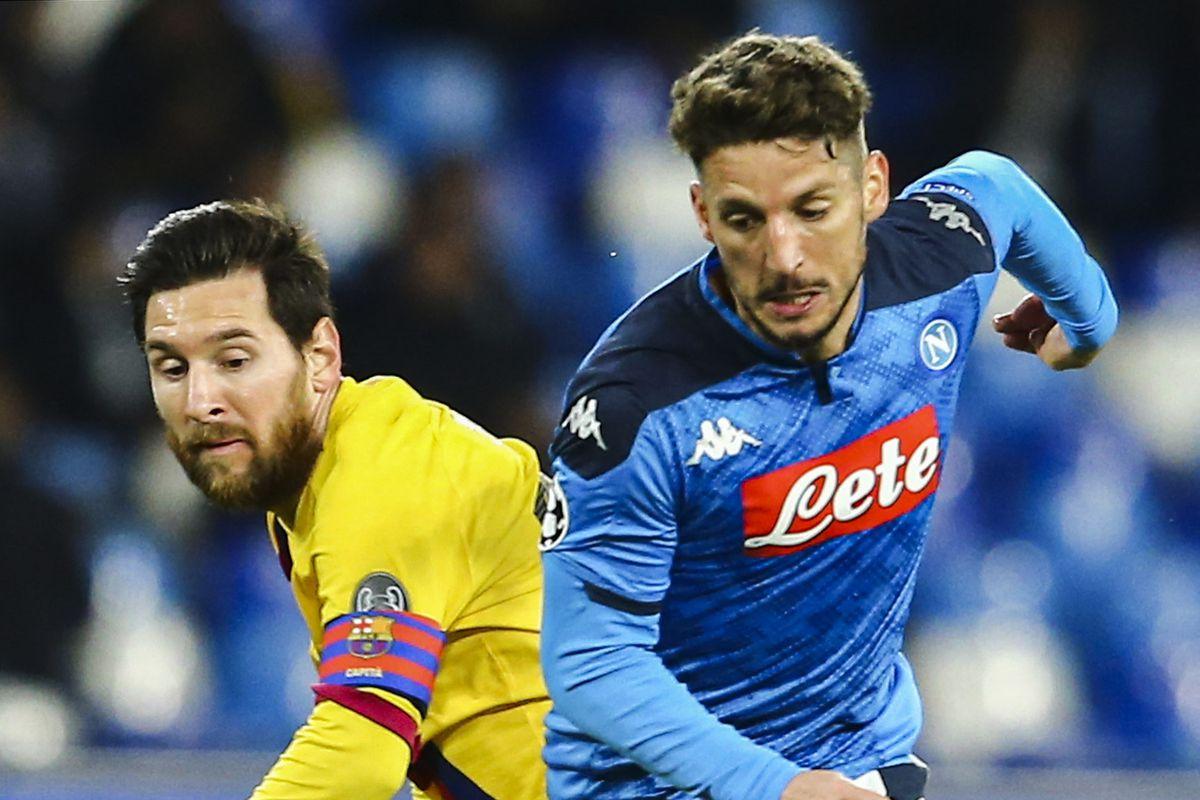 Napoli's belgian striker Dries Mertens (R) fights for the...