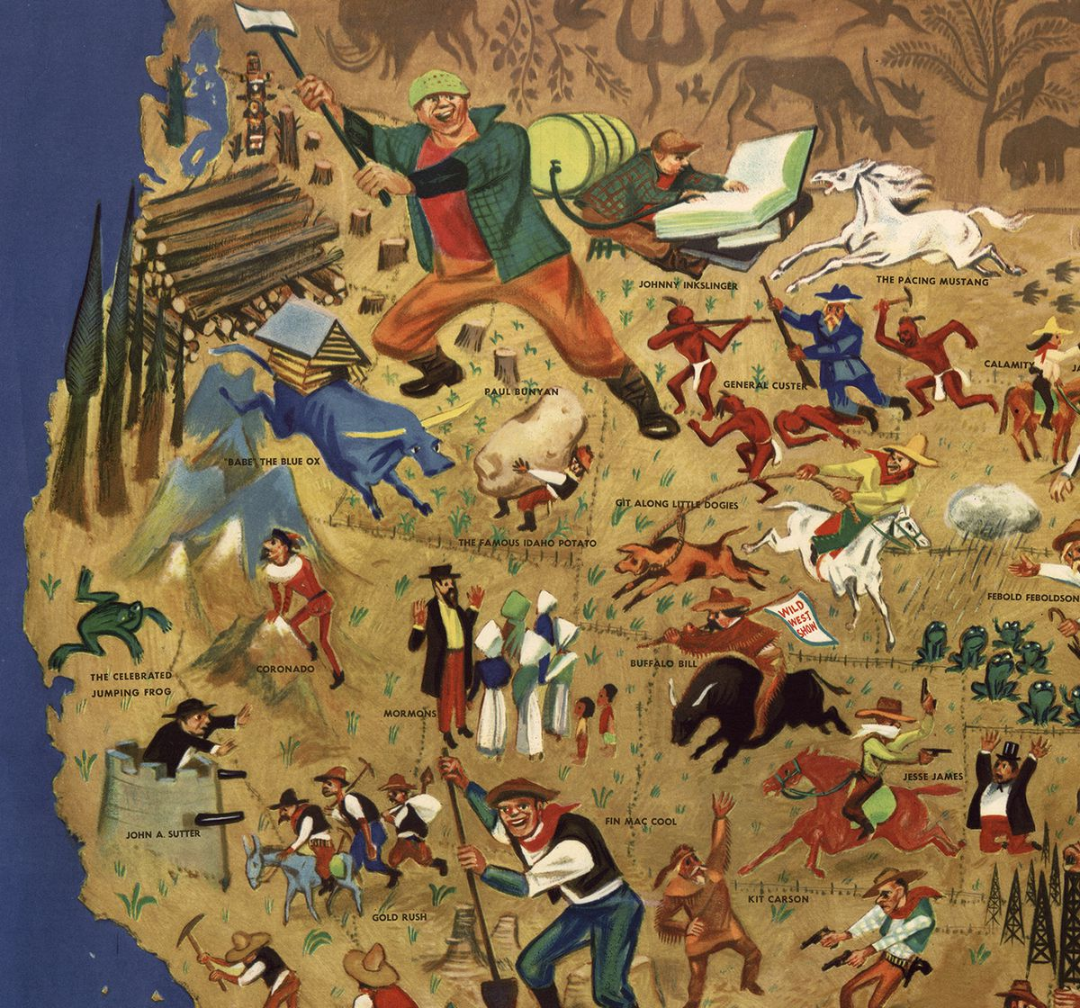 The West: William Gropper's American Folklore Map (Library of Congress)