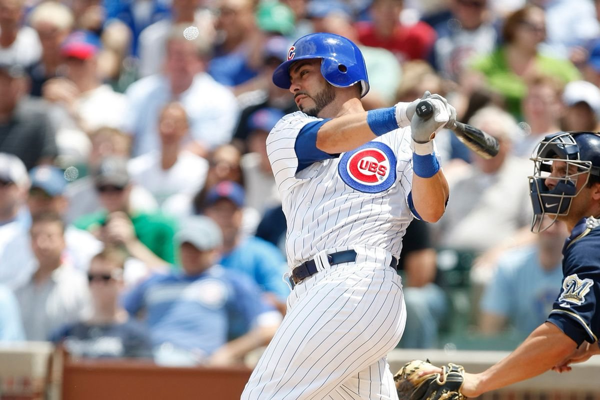 Geovany Soto of the Chicago Cubs bats against the Milwaukee Brewers at Wrigley Field on June 16, 2011 in Chicago, Illinois. (Photo by Scott Boehm/Getty Images)