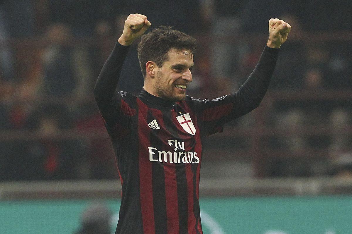 Giacomo Bonaventura celebrates his goal against Crotone mid-week. Marco Luzzani/Getty Images