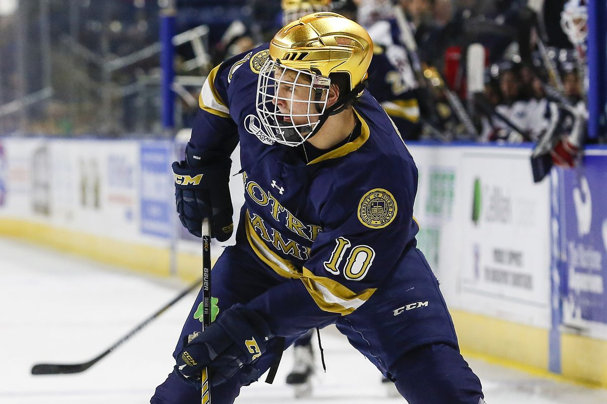 Notre Dame freshman forward Anders Bjork had a goal and an assist Saturday in his team's 5-1 win at Maine.