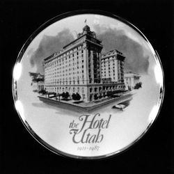 A Texas-based company began production of a limited edition porcelain plate commemorating the Hotel Utah, July 7, 1987.