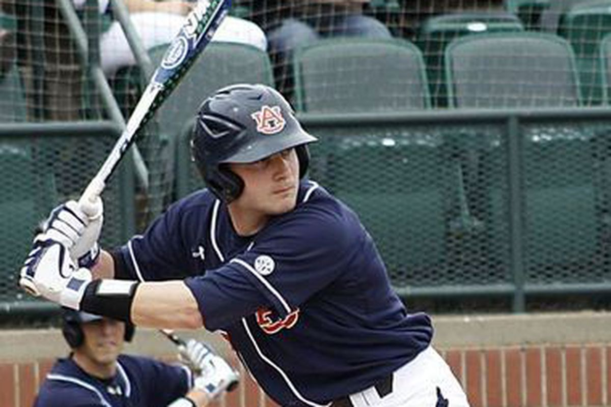 Auburn Designated Hitter Justin Bryant had 2 hits and one RBI in the Tigers' loss to South Carolina in Hoover today.