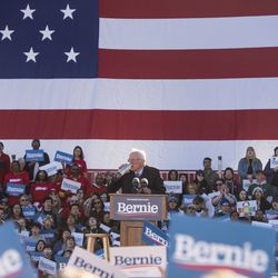 Presidential candidate Bernie Sanders takes a sip of water mid speech, during his rally in Grant Park, Saturday, March 7, 2020.