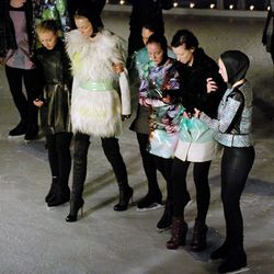 Helping the models walk off the ice