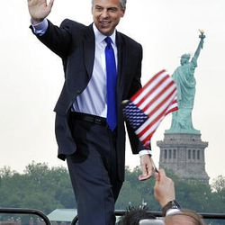 Former Utah Gov. Jon Huntsman Jr. takes the stage just before he announces that he will run for the U.S. presidency June 21, 2011, at Liberty State Park in Jersey City, N.J.
