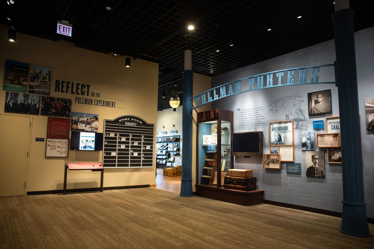 The visitor center at the new Pullman National Monument includes exhibits on the railcar factory and the people who worked on them, including members of the Brotherhood of Sleeping Car Porters. The visitor center opens to the public on Saturday, Sept. 4, 2021.