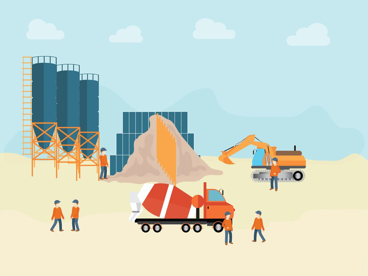Industrial cement processing plant illustration