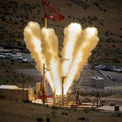 NASA, Lockheed Martin and Orbital ATK conduct a qualification ground test of the launch abort motor that will be used for NASA's Orion spacecraft at the Orbital ATK facility in Promontory, on Thursday, June 15, 2017. Orion will carry crew and launch on NASA's heavy-lift Space Launch System, enabling new missions of exploration across the solar system.